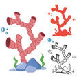 doodle silhouette and bright corals set vector image