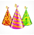 Three party hats on white vector image