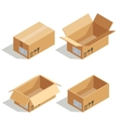 Cardboard boxes opened and closed 3D isometric vector image