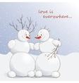 cute amorous snowmen under vector image