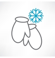 two mittens and snowflake vector image vector image