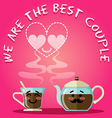 loving couple of coffee cup and kettle vector image