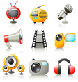 cartoon media icons vector image vector image
