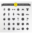 Fitness silhouette icons set vector image