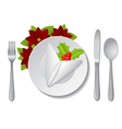 christmas plate with napkin vector image