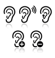 Ear hearing aid deaf problem icons set vector image