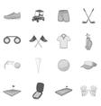 Golf icons set gray monochrome style vector image
