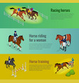 isometric web equestrian horizontal banners with vector image