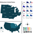 Map of Midwestern United States vector image
