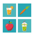 multicolored square buttons set of healthy fruits vector image