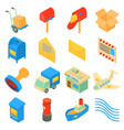 poste service icons set isometric style vector image