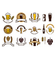 Set of craft beer emblems and logo templates vector image