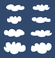 White clouds on dark blue sky background set vector image