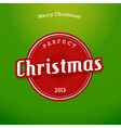 Red Christmas label on green background vector image vector image