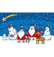 christmas cartoon characters vector image vector image