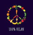 peace sign from vegetables and fruits vector image