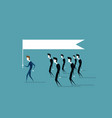 group of business people follow leader holding vector image
