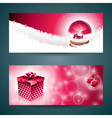 Merry Christmas banner with gift box vector image