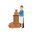young man potter in apron making ceramic pot vector image