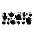 tea set silhouette kettle teapot cup creamer vector image