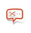 Cut message sticker orange vector image