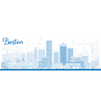 Outline Boston Skyline with Blue Buildings vector image