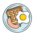 fried egg and sausage vector image