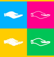 hand sign four styles of icon on vector image
