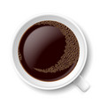 mug of coffee top view on white background vector image
