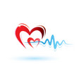 heart and ECG white vector image