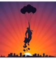 Business man flying on balloons to the sky vector image vector image