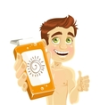 Cute nice guy advertising agent for tanning vector image