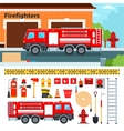 Fire-engine waiting on the street vector image