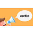 Cartoon young businessman character with megaphone vector image