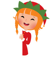 Christmas elf looking from behind the placard vector image