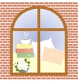 Cup of coffee cocoa tea cappuccino view window vector image