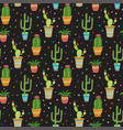 succulent and cactus seamless pattern cartoon vector image