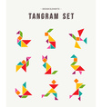 Tangram set creative art of colorful animal shapes vector image