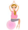 Beautiful Pregnant woman sitting on Pilates ball vector image