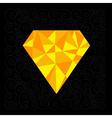 Big yellow polygonal diamond on the black backgrou vector image