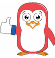 Penguin With Thumb up Glove vector image