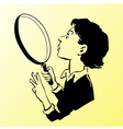 woman with magnifying glass vector image vector image