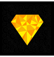 Big yellow polygonal diamond on the black backgrou vector image
