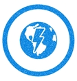 Earth Shock Rounded Icon Rubber Stamp vector image