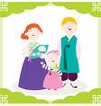Family Hanbok vector image