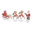 Santa Claus with sledge deers and Christmas vector image
