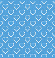 white hand draw hearts on sky blue background vector image
