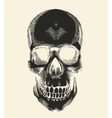 Human skull silhouette drawn in vintage engraving vector image