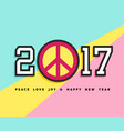happy new year 2017 peace patch icon card design vector image
