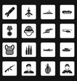 war icons set squares vector image